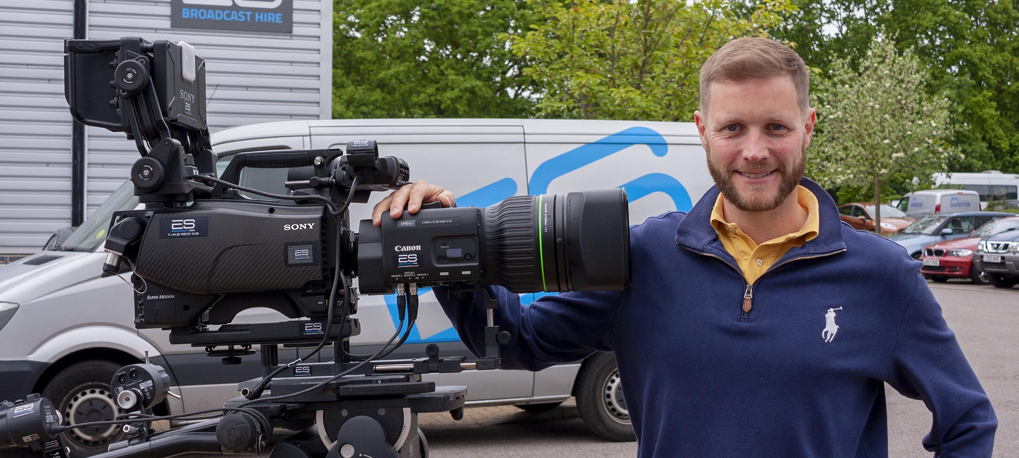 ES Broadcast CEO Edward Saunders with one of the Canon CJ45 lenses newly arrived at ES Broadcast Hire